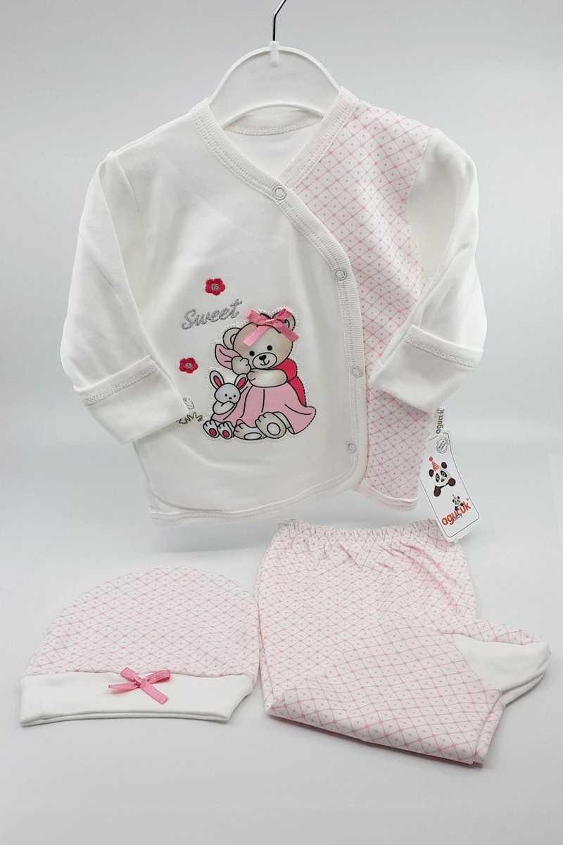 Agucuk Baby Kız Bebek 3 lü Zıbın Set Kurdeleli Ayıcık - Thumbnail