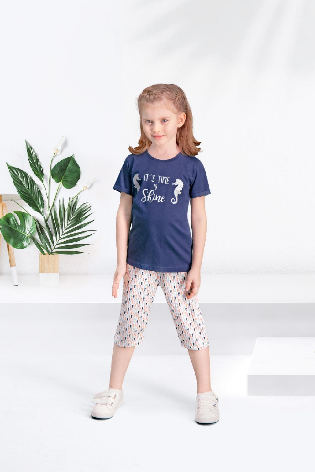 Arnetta Kız Çocuk 2'li Kapri Takım Kısa Kollu (ARNET105G) - V3 - Thumbnail