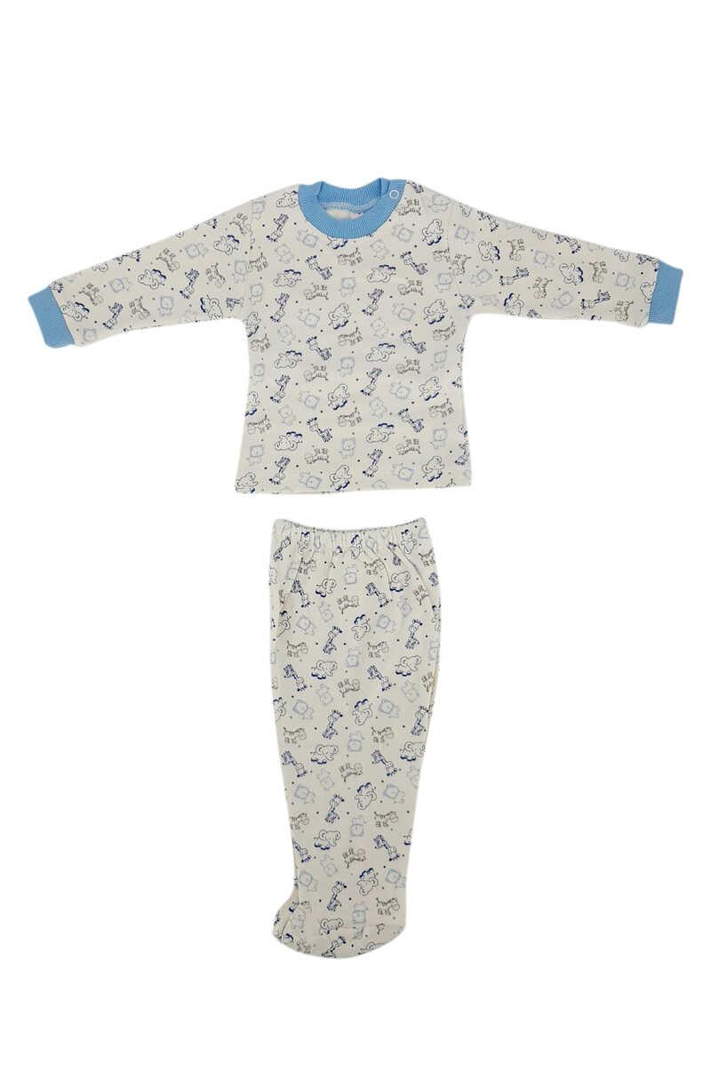 Ayca Unisex Bebek Pijama Takımı Uzun Kol Penye Zürafa-Fil Baskılı - Mavi