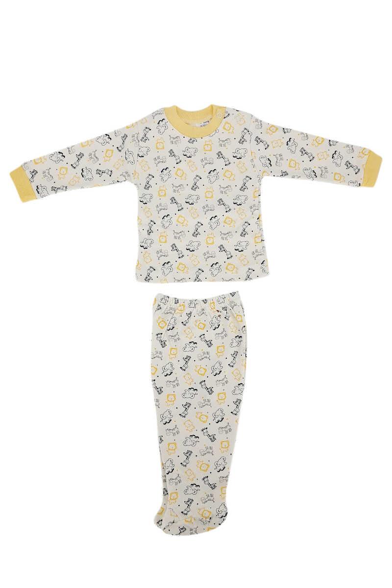 Ayca Unisex Bebek Pijama Takımı Uzun Kol Penye Zürafa-Fil Baskılı - Sarı