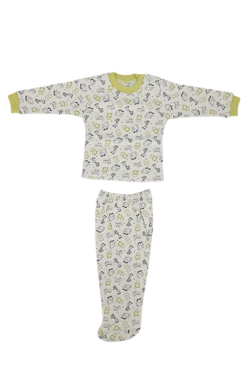 Ayca Unisex Bebek Pijama Takımı Uzun Kol Penye Zürafa-Fil Baskılı - Yeşil