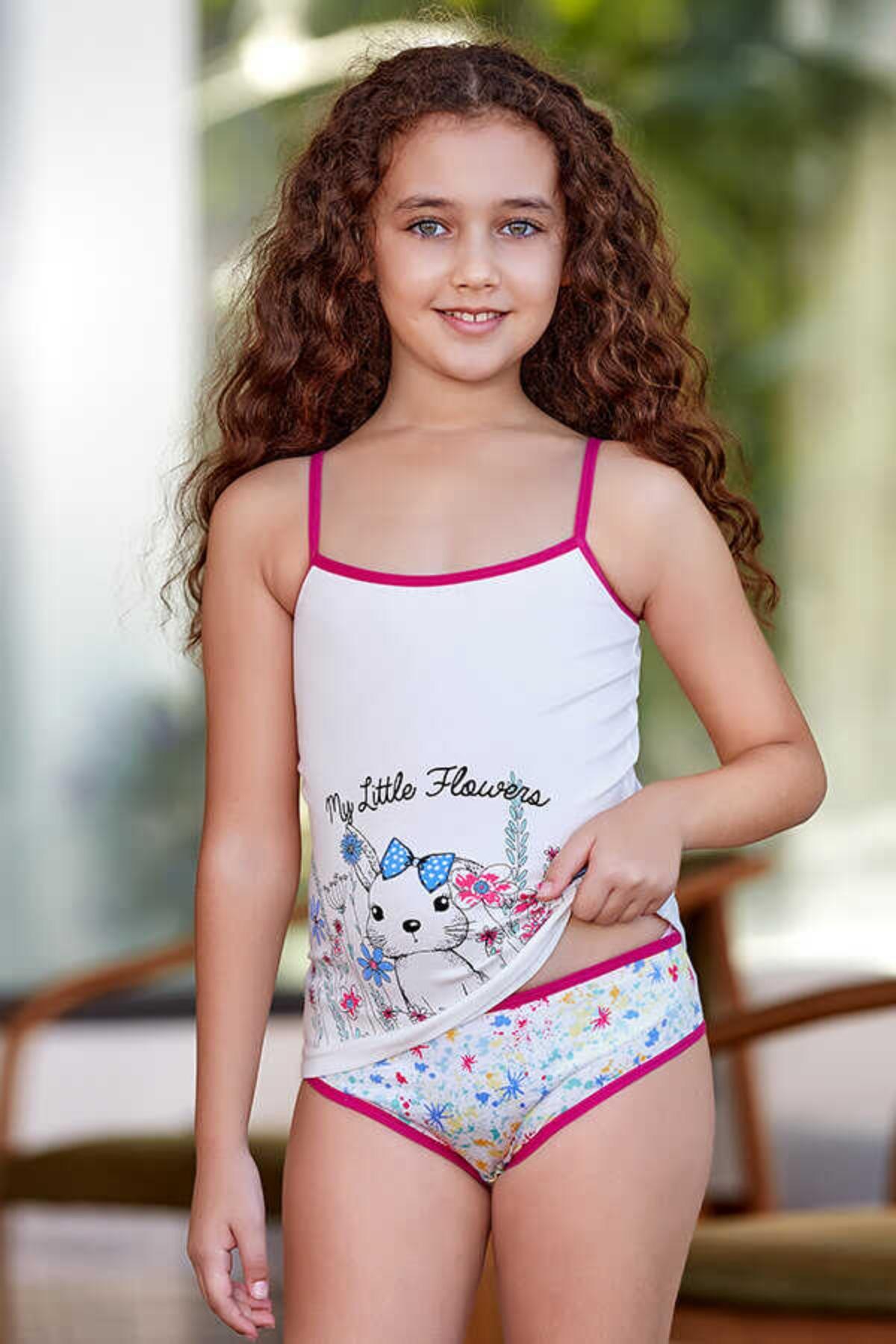 Berrak Kız Çocuk Atlet Külot Takım Princess Yazılı