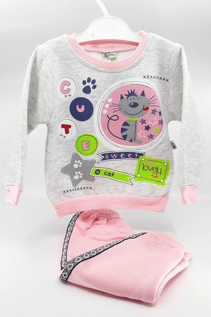 Biberon Bebe Kız Bebek 2 li Takım Kedi Baskılı Üç İplik - Pembe