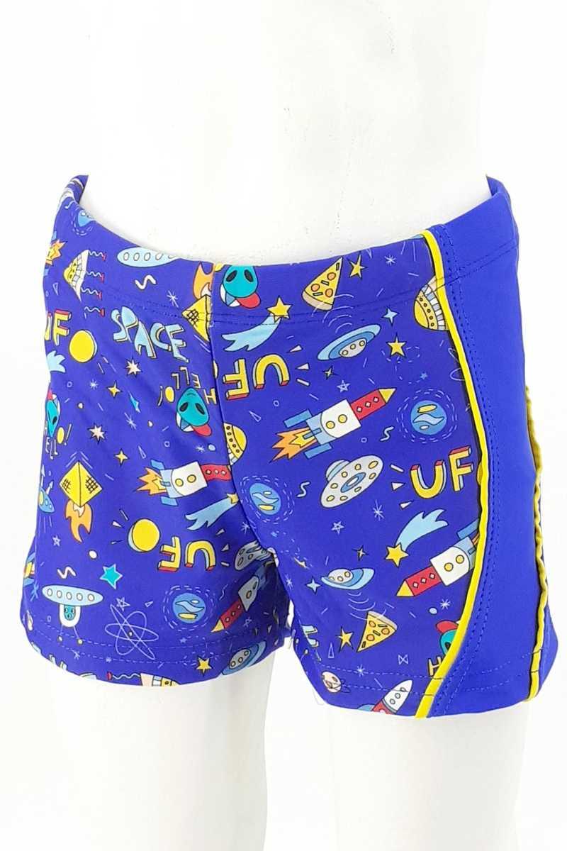 Endeep Erkek Çocuk Deniz Şortu Desenli - Saks Mavisi