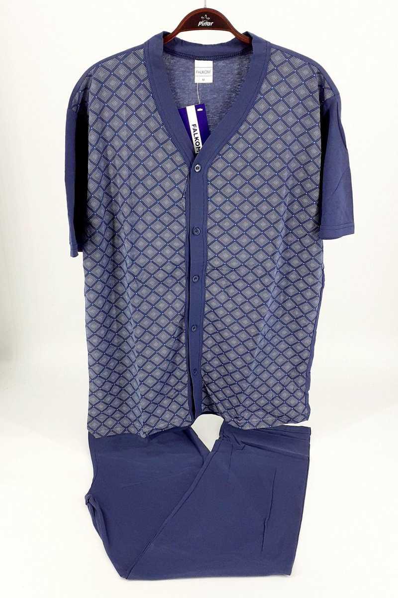 Falkon Erkek Pijama Takım Kısa Kol Süprem (FAWN4213) - İndigo