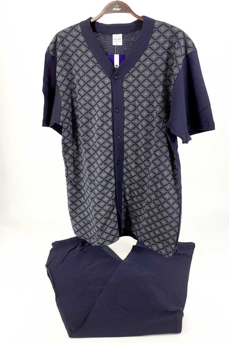Falkon Erkek Pijama Takım Kısa Kol Süprem (FAWN4213) - Lacivert