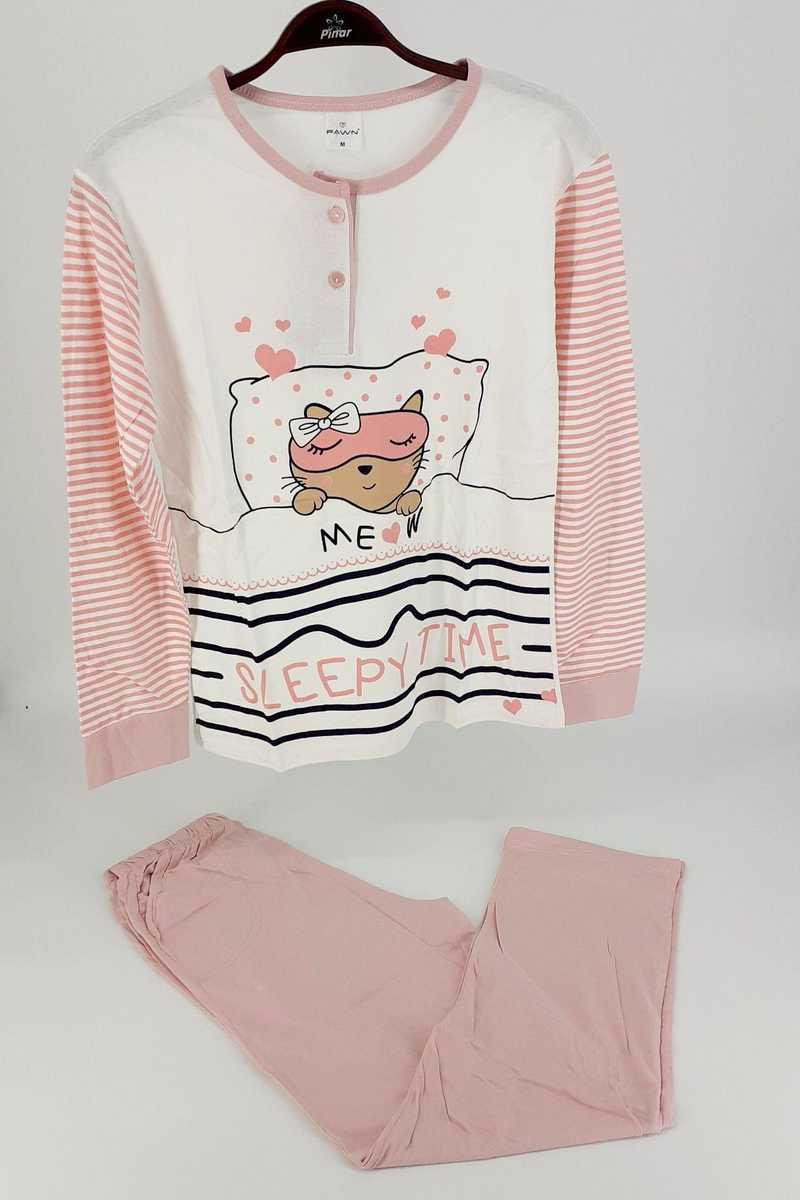 Falkon Kadın Pijama Takım Sleepy Time Uzun Kol - Krem-Pudra Pembe - Thumbnail