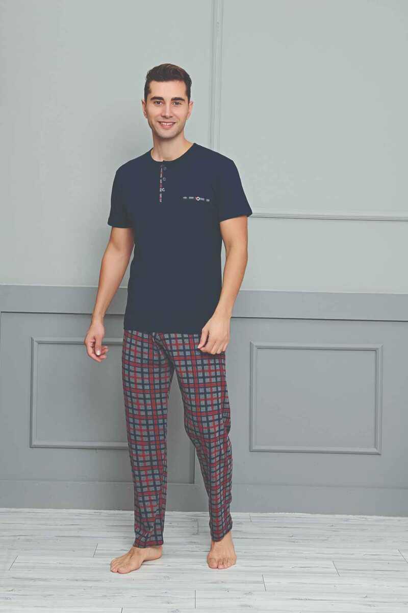 Fapi Erkek Pijama Takımı Kısa Kol Üç Düğmeli Alt Ekoseli - Thumbnail