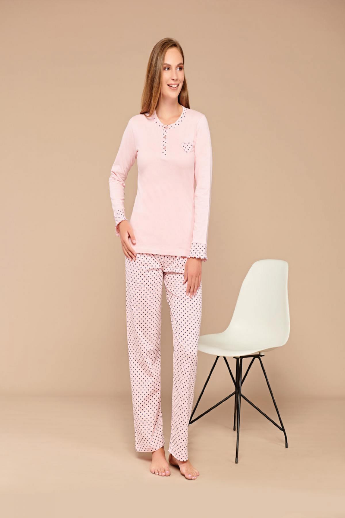 Fapi Kadın Pijama Takımı Uzun Kol Kalp Detaylı Puantiye Desenli - Pudra Pembe