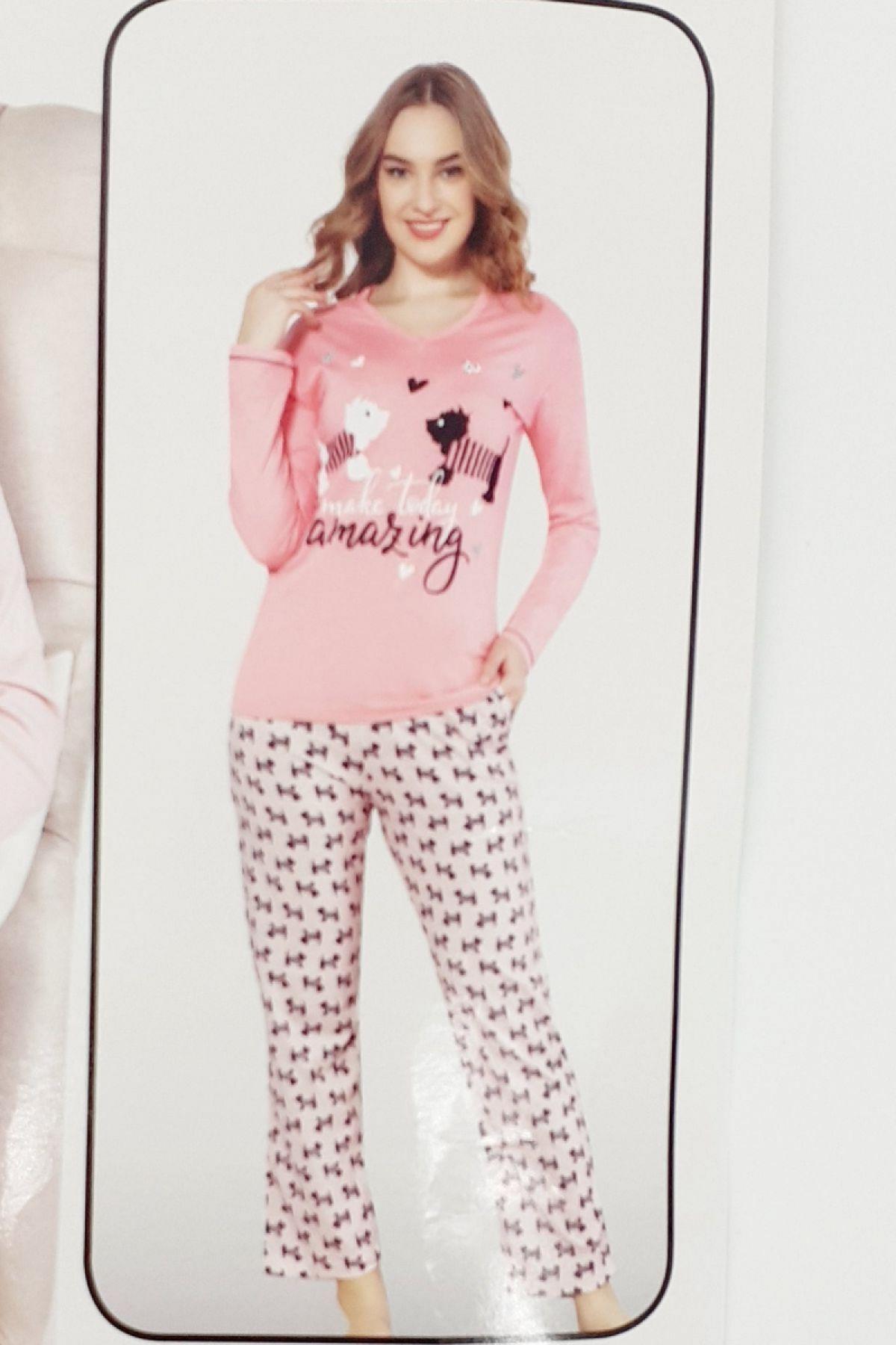 Fawn Kadın Pijama Takım Amazing Uzun Kol - Narçiçeği