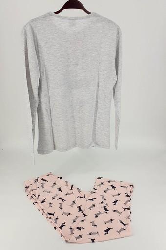 FALKON - Fawn Kadın Pijama Takım Köpek Desenli Uzun Kol - Gri-Pembe (1)
