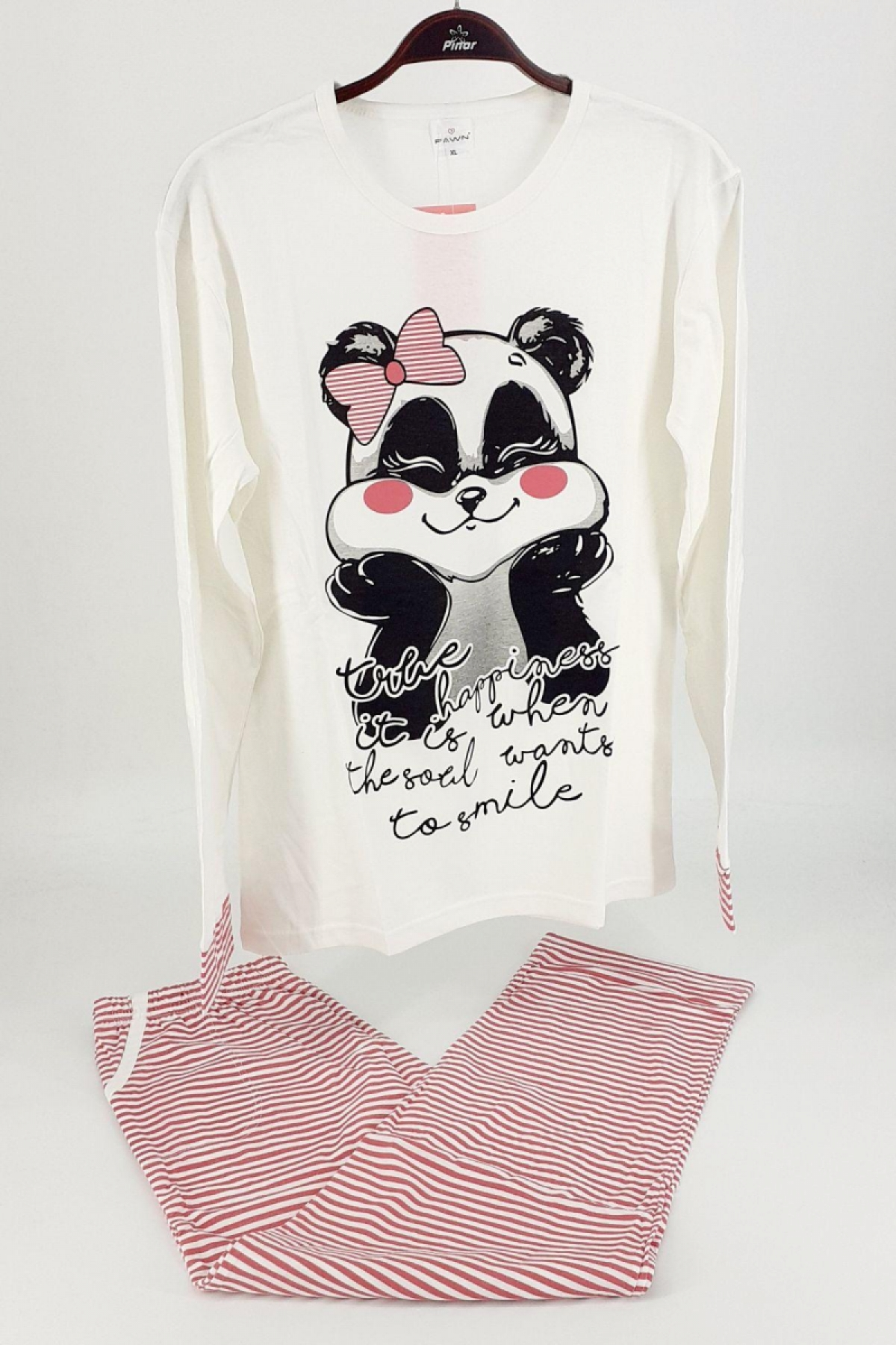 Fawn Kadın Pijama Takım Panda Desenli Uzun Kol - Fuşya-Krem - Thumbnail
