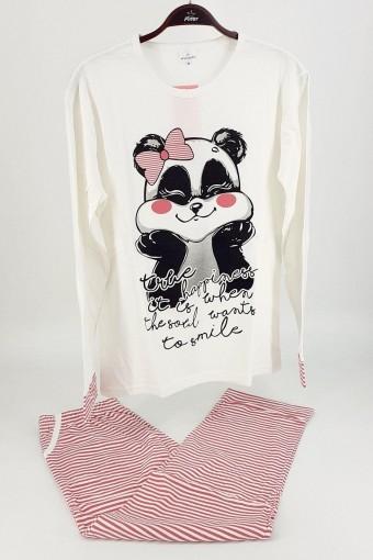 FALKON - Fawn Kadın Pijama Takım Panda Desenli Uzun Kol - Fuşya-Krem (1)