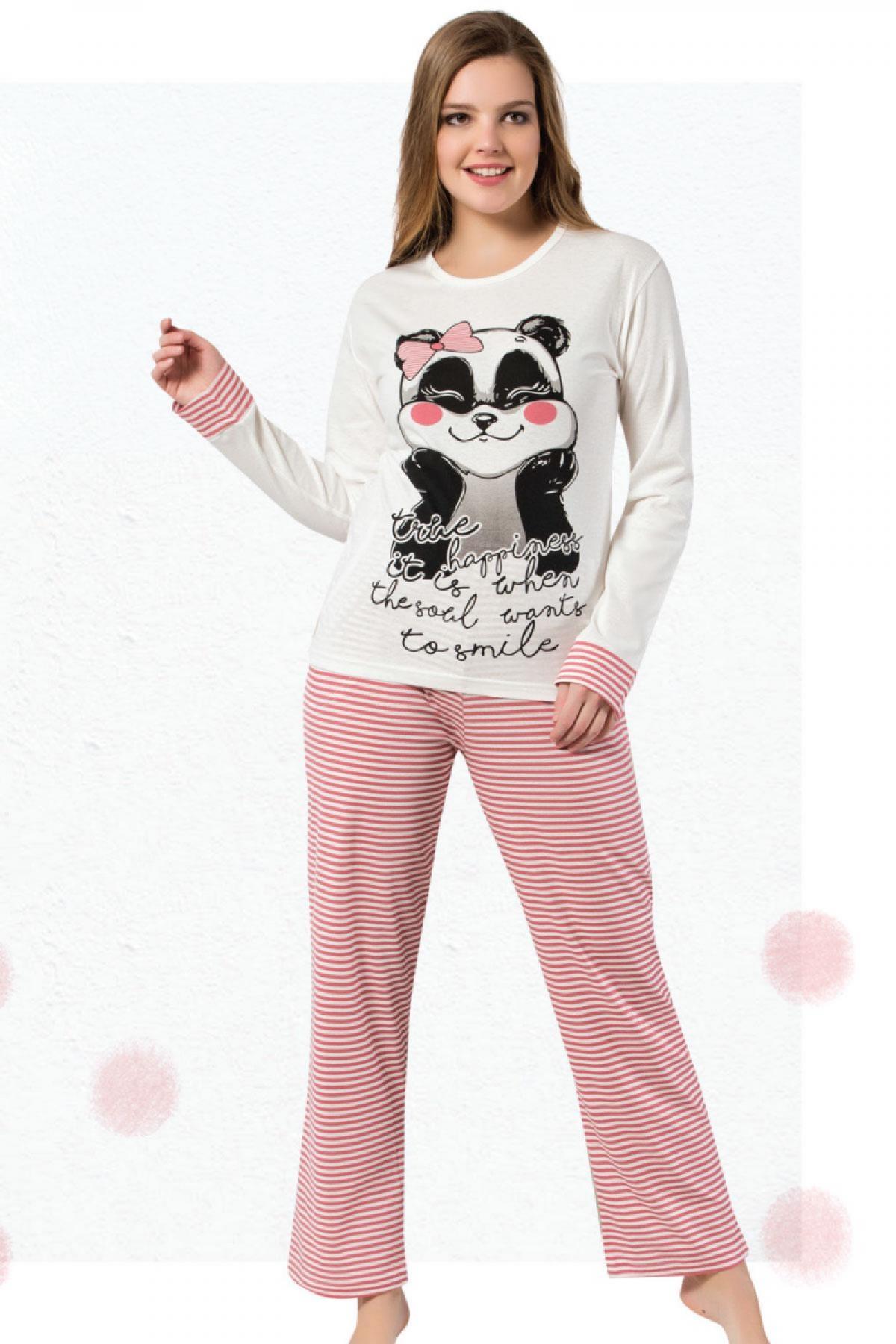 Fawn Kadın Pijama Takım Panda Desenli Uzun Kol - Gül Kurusu-Krem - Thumbnail