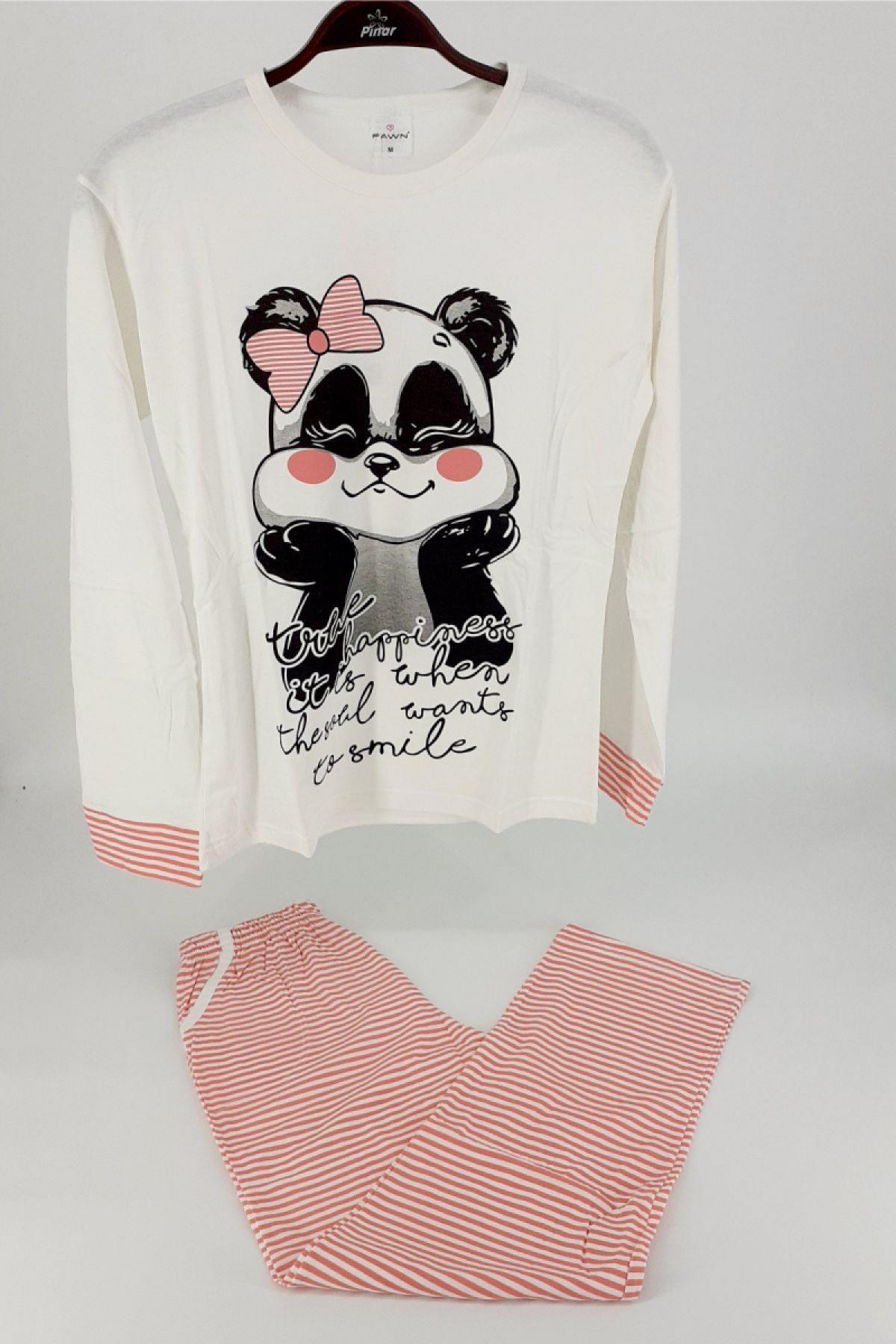 Fawn Kadın Pijama Takım Panda Desenli Uzun Kol - Krem-Pudra Pembe - Thumbnail