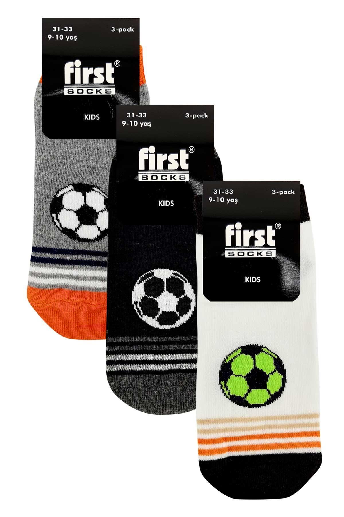 First Erkek Çocuk Patik Çorap Futbol Topu 3 lü - Asorti - 5 - Thumbnail