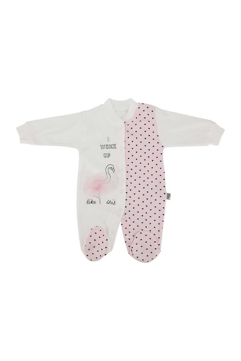Gaye Kız Bebek Tulum Flamingo Puanlı - Ekru-Pembe