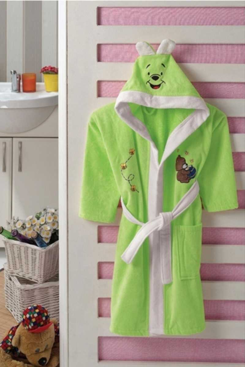 Görecek Unisex Çocuk Tek Bornoz - Yeşil - 4