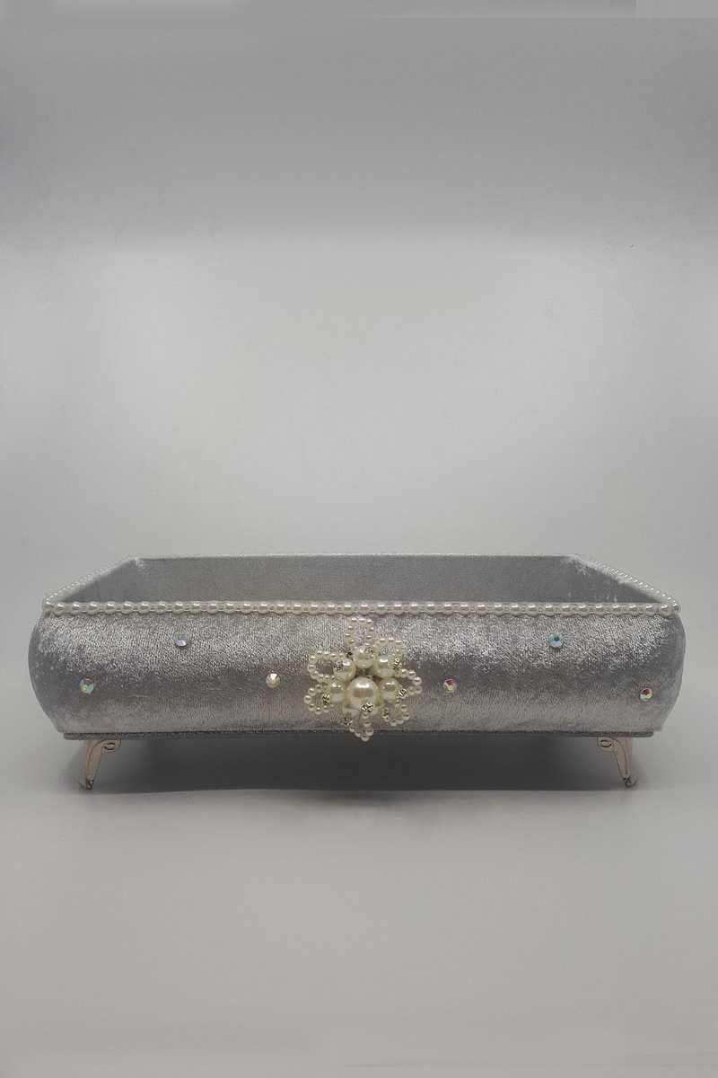 Hümam Havlu Sepeti Dikdörtgen İncili Taşlı - Thumbnail