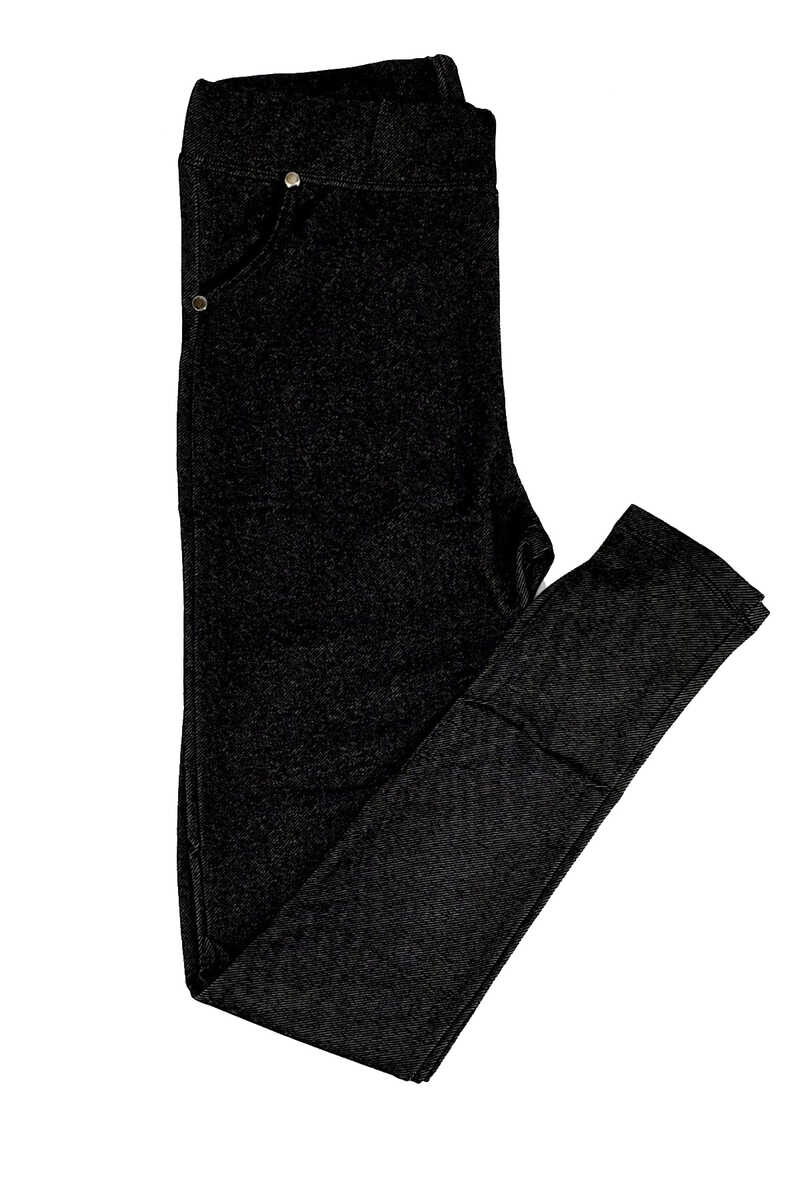 Meg Kadın Tayt Kot Desenli Cepli - Siyah