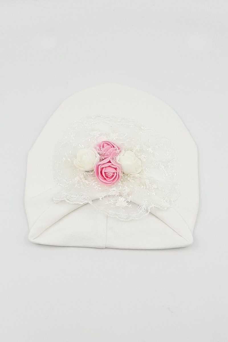 Minidamla Kız Bebek Şapka Likralı Güllü - Thumbnail