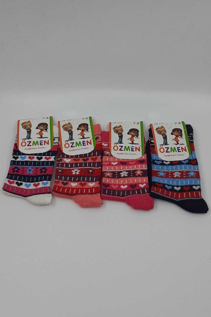 Özmen Kız Çocuk Soket Çorap Desenli Likralı - Thumbnail