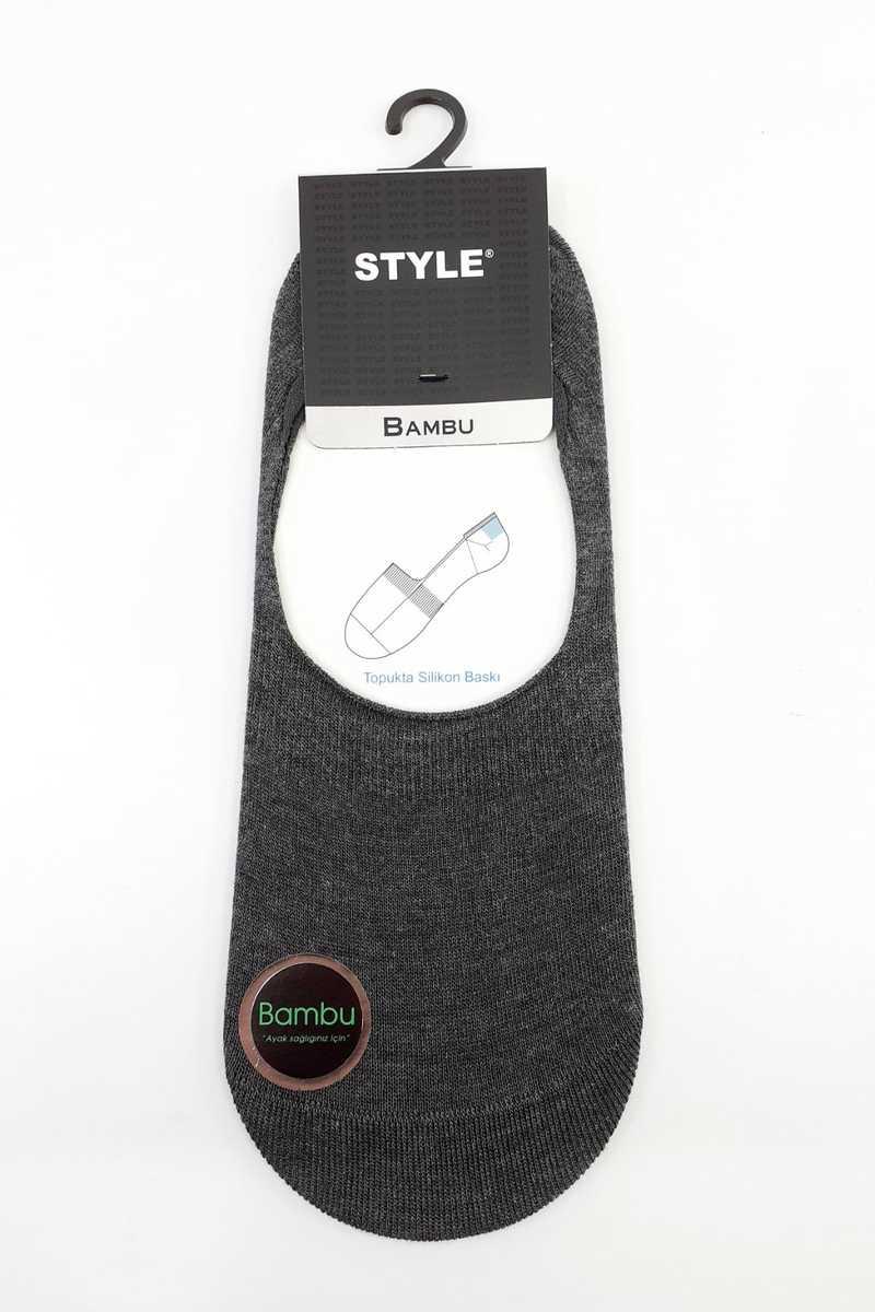 Style Erkek Babet Çorap Bambu Düz - Thumbnail