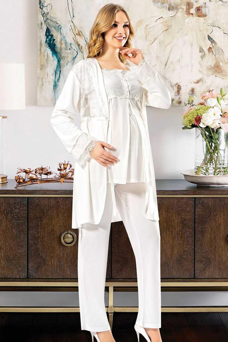 X-Ses Kadın Lohusa 3 lü Pijama Takımı Dantelli - Thumbnail
